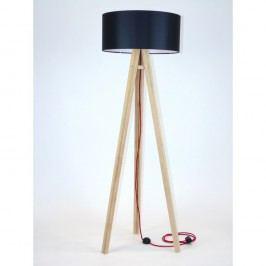 Lampadar cu abajur negru și cablu roșu Ragaba Wanda