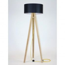 Lampadar cu abajur negru și cablu galben Ragaba Wanda