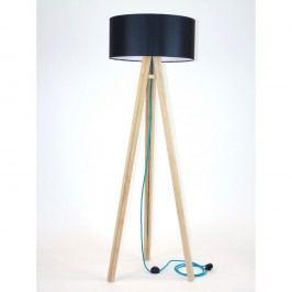 Lampadar cu abajur negru și cablu turcoaz Ragaba Wanda