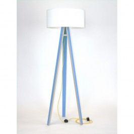Lampă albastră cu abajur alb și cablu galben Ragaba Wanda