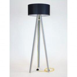 Lampadar cu abajur negru și cablu galben Ragaba Wanda, gri