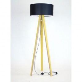 Lampadar cu abajur negru și cablu alb-negru Ragaba Wanda, galben