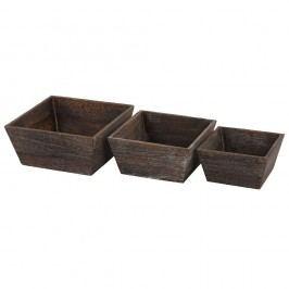 Set 3 boluri din lemn Mendler Shabby Vintage, maro