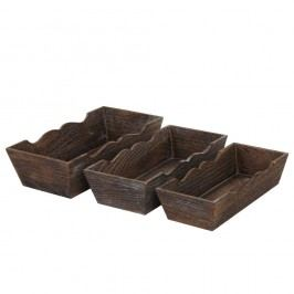 Set 3 boluri din lemn Mendler Shabby, maro