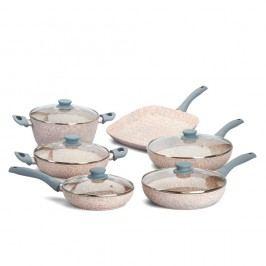 Set de tigăi cu mâner și capac, gri, 10 piese Bisetti Stonerose