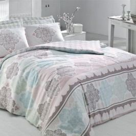 Lenjerie de pat cu cearșaf Andalucia Turquoise, 200 x 220 cm