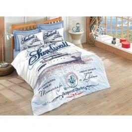 Lenjerie de pat cu cearșaf din bumbac Harbors, 200 x 220 cm