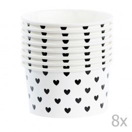 Set 8 cupe hârtie pentru înghețată cu lingurițe Miss Étoile Black Hearts