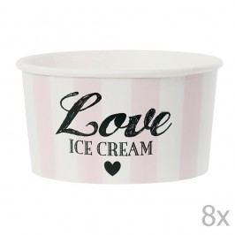 Set 8 cupe hârtie pentru înghețată cu lingurițe Miss Étoile Love