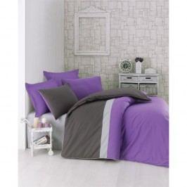 Lenjerie de pat din bumbac cu cearșaf Brode, 200 x 220 cm, violet