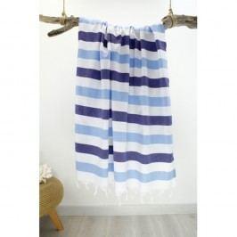 Prosop cu dungi Hammam Rainbow Style, 100 x 180 cm, alb - albastru