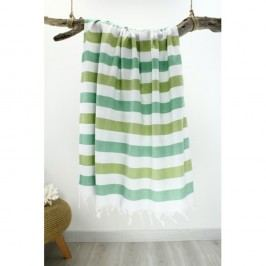 Prosop cu dungi Hammam Rainbow Style, 100 x 180 cm, verde - alb