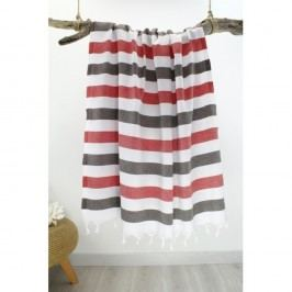 Prosop cu dungi Hammam Rainbow Style, 100 x 180 cm, roșu - gri