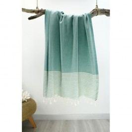 Prosop cu dungi Hammam Marine Style, 100 x 170 cm, verde - alb