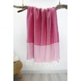 Prosop cu dungi Hammam Marine Style, 100 x 180 cm, roz