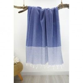 Prosop cu dungi Hammam Marine Style, 100 x 170 cm, albastru