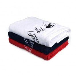 Set 3 prosoape Beverly Hills Polo Club Tommy Yazi, 50 x 100 cm, alb - albastru - roșu