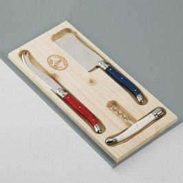 Set 3 tacâmuri pentru brânzeturi, în cutie de lemn, Jean Dubost Paris