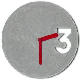 Ceas din beton cu indicatoare roșii Jakub Velinsky
