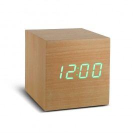 Ceas deșteptător cu LED Gingko Cube Click Clock, maro - verde