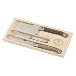 Set 3 tacâmuri pentru brânzeturi, în cutie de lemn, Jean Dubost Linen Mix