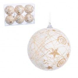 Set 6 globuri pentru Crăciun Unimasa, 8 x 8 x 8 cm, alb-auriu