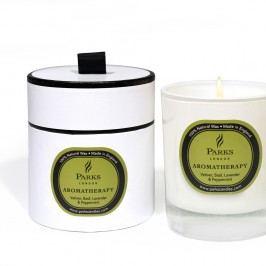 Lumânare parfumată Parks Candles London Aromatherapy, aromă de busuioc, lavanda și mentă, 50 ore