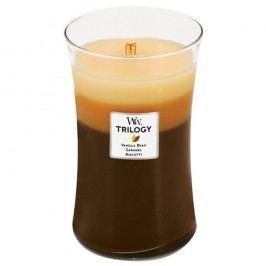 Lumânare parfumată WoodWick Trilogy, aromă de zahăr, vanilie și caramel, 130 ore