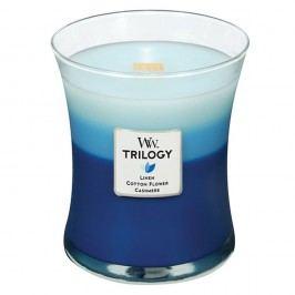 Lumânare parfumată WoodWick Trilogy, aromă de bumbac, flori și cașmir, 60 ore