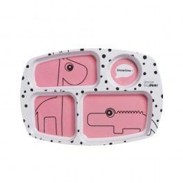 Farfurie compartimentată pentru copii Done by Deer Happy Dots, roz