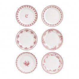 Set 6 farfurii desert Comptoir de Famille Faustine, 20 cm, roșu - alb