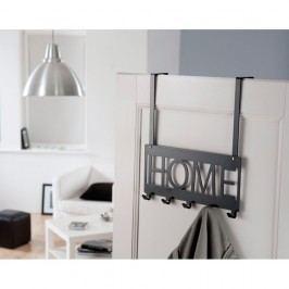 Cuier pentru uşă Compactor Home, 5 cârlige, negru