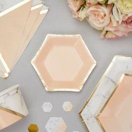 Set 8 farfurii din hârtie Neviti Gold Colour Block Marble, 12,5 cm